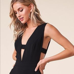 Deep v side cut out jumpsuit by sugarlips